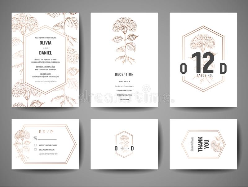 Роскошное спасение свадьбы дата, собрание карточек приглашения с сусальным золотом цветет и шаблон дизайна логотипа вензеля иллюстрация вектора