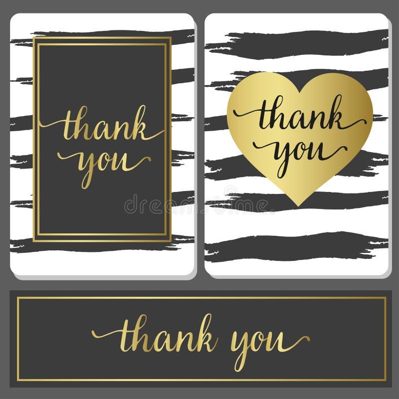 Роскошные карточки дизайна стиля с черным brushstroke и золотом подписывают иллюстрация штока