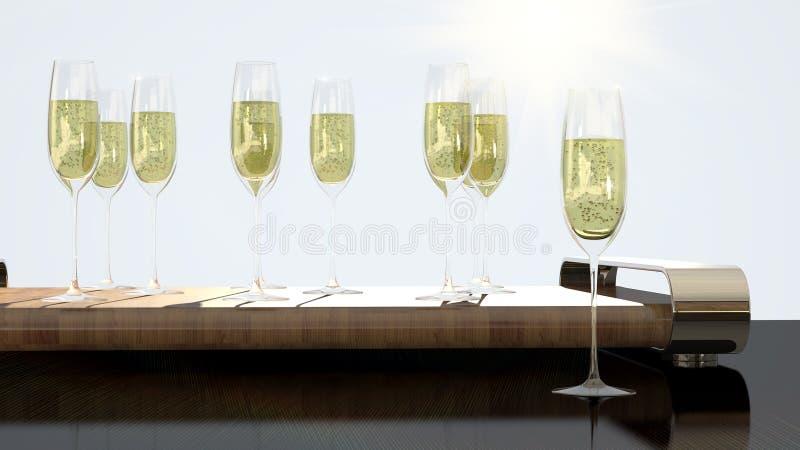 Роскошные стекла с шампанским для приветственных восклицаний стоковое фото rf
