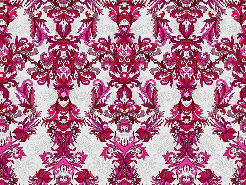 Роскошные флористические обои штофа Безшовная предпосылка картины также вектор иллюстрации притяжки corel бесплатная иллюстрация