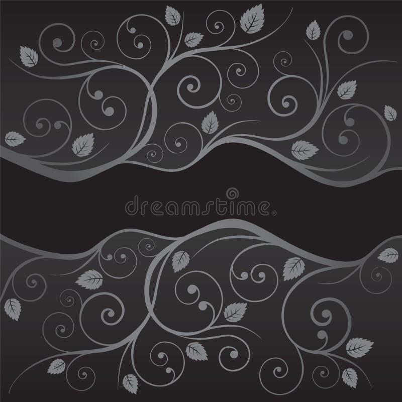 Роскошные черные и серебряные листья и границы свирлей иллюстрация вектора