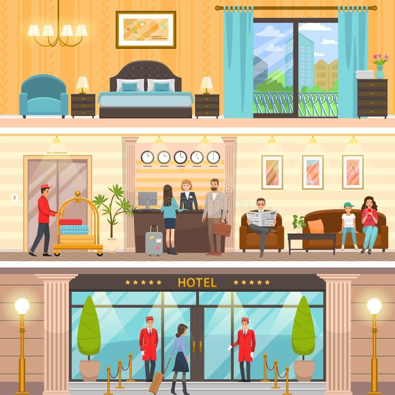 Роскошные экстерьер гостиницы, прием и комплект комнаты бесплатная иллюстрация