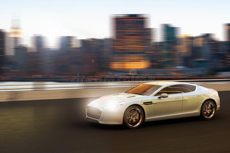 Роскошный автомобиль в движении перед горизонтом Манхаттана иллюстрация вектора