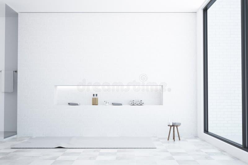 Роскошный белый интерьер ванной комнаты, просторная квартира бесплатная иллюстрация