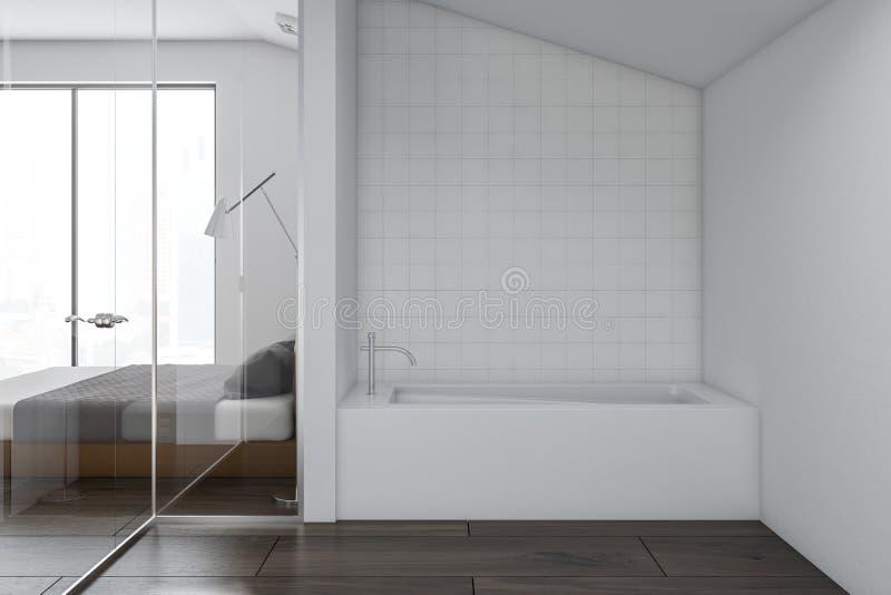 Роскошный белый интерьер ванной комнаты, спальня бесплатная иллюстрация