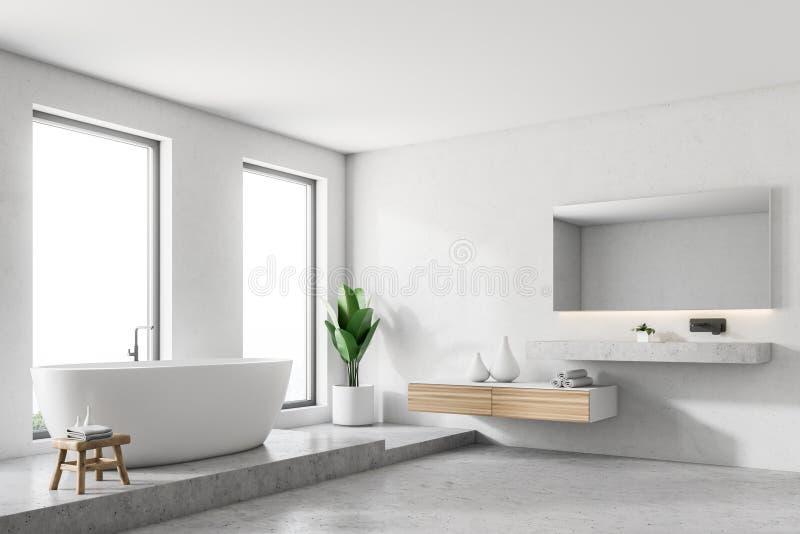 Роскошный белый угол ванной комнаты бесплатная иллюстрация