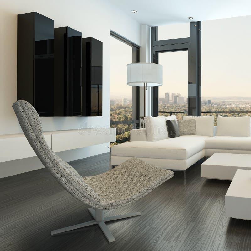 Роскошный белый интерьер живущей комнаты с современной мебелью иллюстрация штока