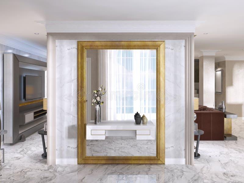Роскошный вестибюль стиля Арт Деко с большим дизайнерским зеркалом иллюстрация штока