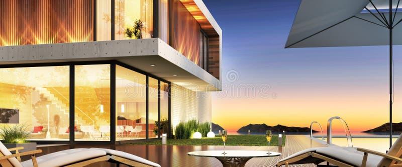 Роскошный дом с бассейном и терраса для ослаблять бесплатная иллюстрация