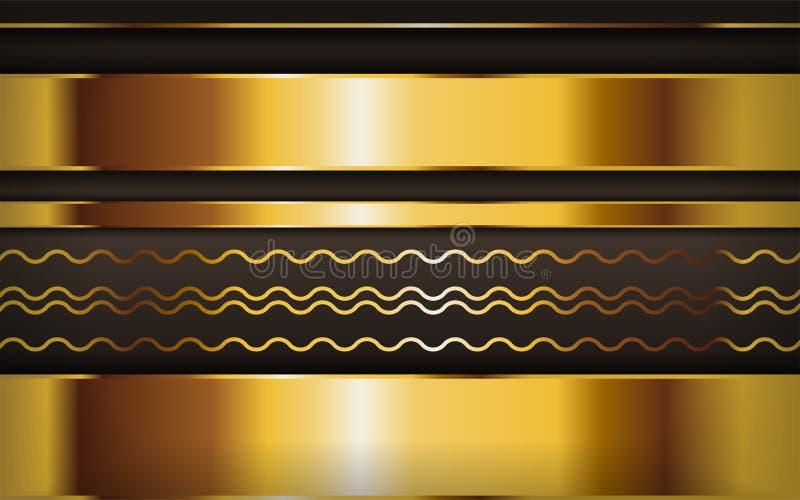 Роскошный золотисто-коричневый фон с золотыми линиями Проектирование текстурированного слоя на перекрёстке иллюстрация штока
