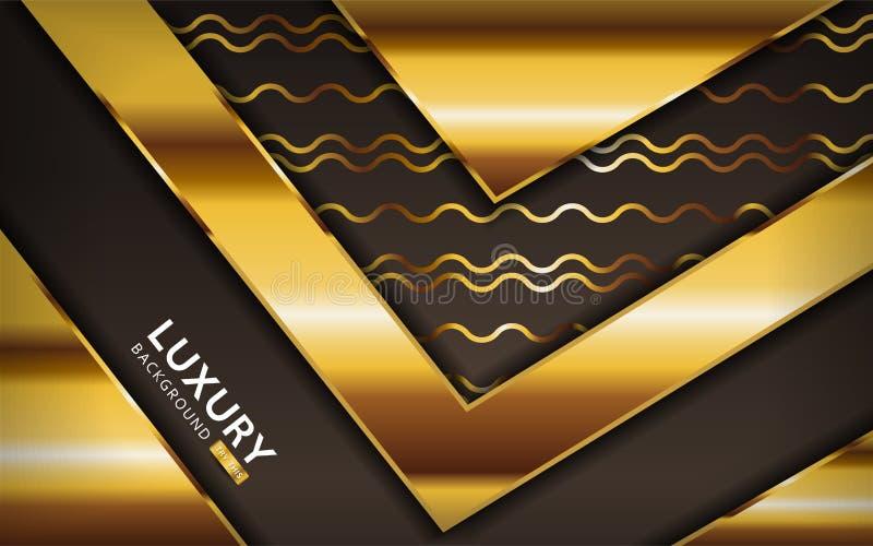 Роскошный золотисто-коричневый фон с золотыми линиями Проектирование текстурированного слоя на перекрёстке иллюстрация вектора