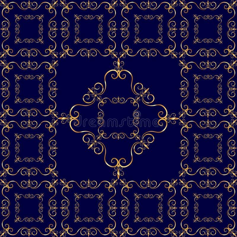 Роскошный золотой орнамент на синей предпосылке стоковые изображения rf