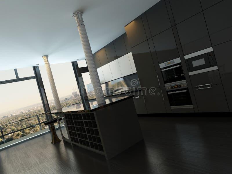 Роскошный интерьер кухни черноты современного дизайна иллюстрация вектора