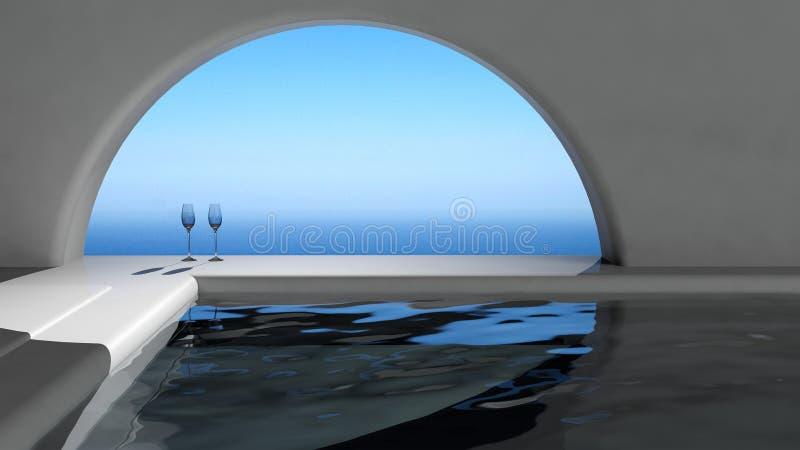 Роскошный интерьер плавательного бассеина иллюстрация штока
