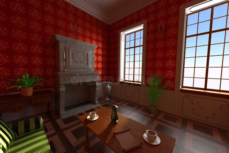 Роскошный интерьер поместья - живущая комната бесплатная иллюстрация