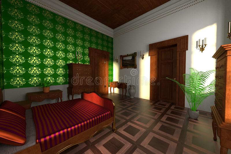Роскошный интерьер поместья - спальня иллюстрация штока