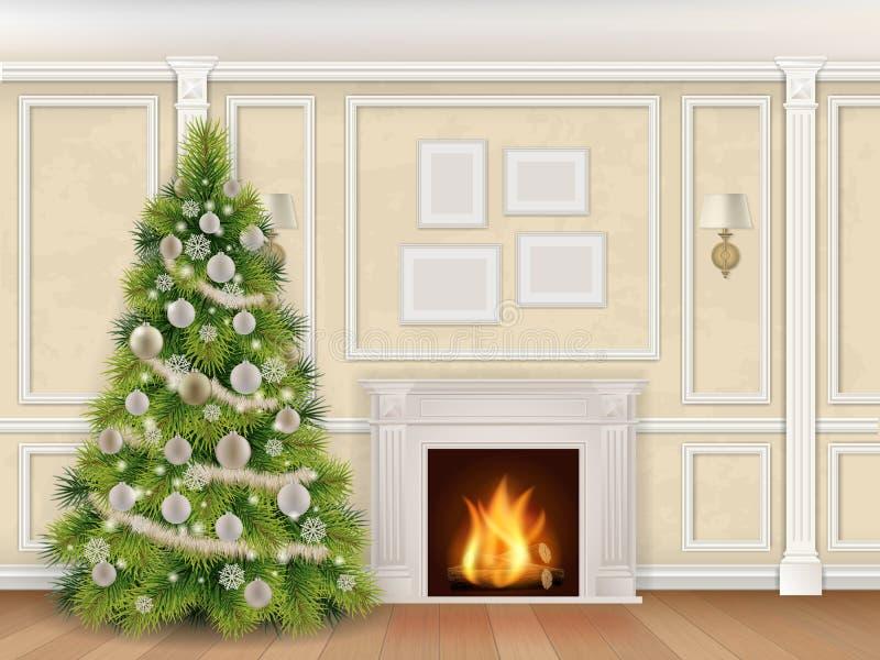 Роскошный интерьер рождества с камином иллюстрация штока