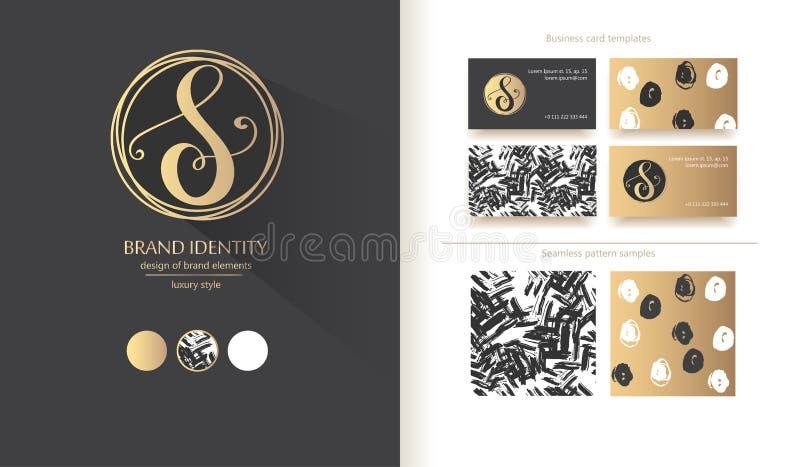 Роскошный каллиграфический вензель письма s - vector шаблон логотипа Изощренный дизайн бренда иллюстрация штока