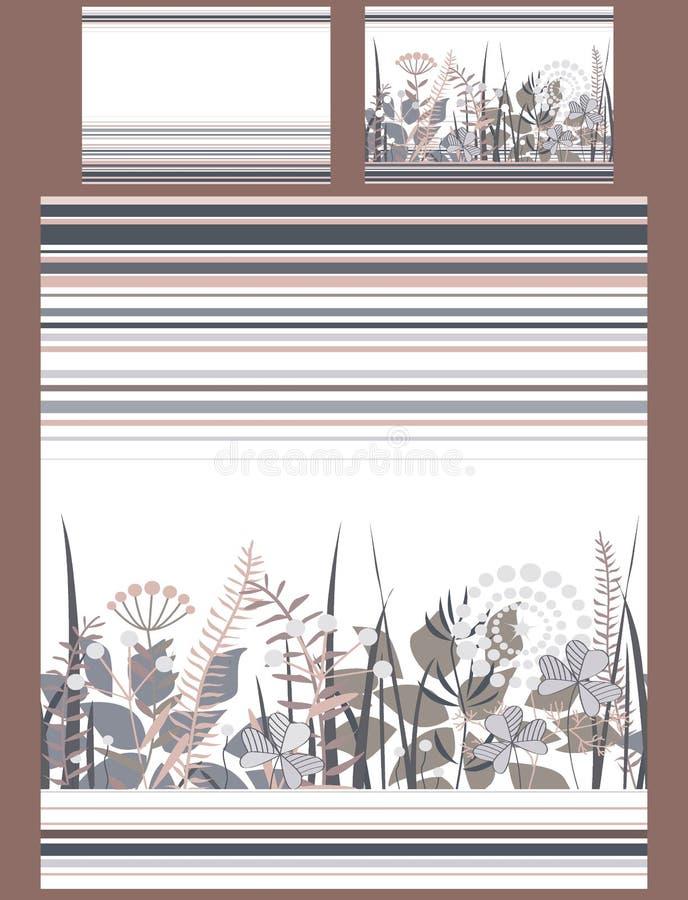 Роскошный комплект постельных принадлежностей с цветками и нашивками doodle, одеялом и 2 подушками Милая пастельная коричневая и  иллюстрация штока