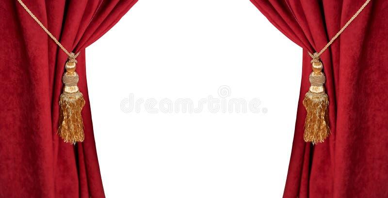 Роскошный красный занавес при tassel и веревочка изолированные на белизне стоковые фото