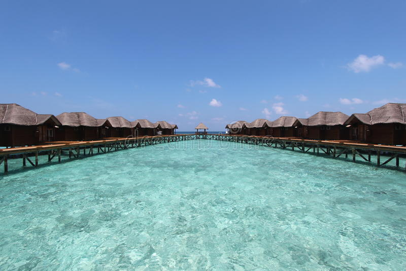 Роскошный курорт в Мальдивах стоковое изображение rf