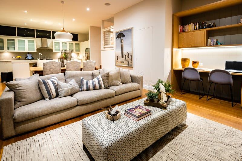 Роскошный лаундж-зал с открытой планировкой в домашнем доме с мягкой мРстоковое фото