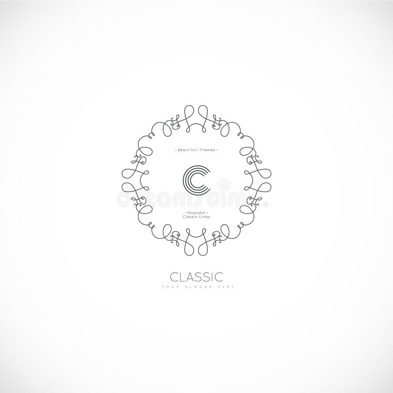 Роскошный логотип вензеля иллюстрация штока