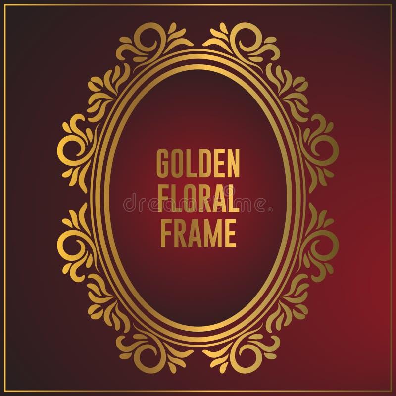 Роскошный овальный золотой дизайн рамки орнамента Дизайн предпосылки рамки золота с роскошным флористическим орнаментом иллюстрация штока