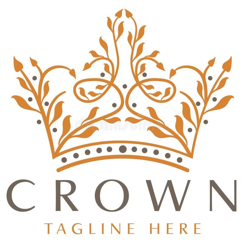 Роскошный логотип кроны иллюстрация штока