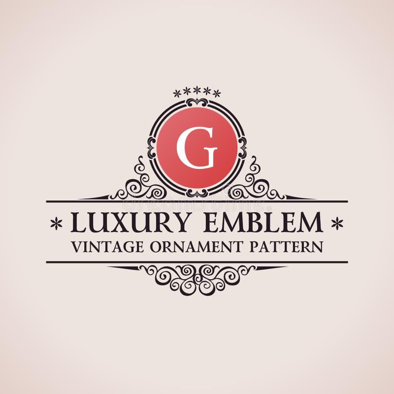Роскошный логотип Оформление каллиграфической картины элегантное иллюстрация вектора