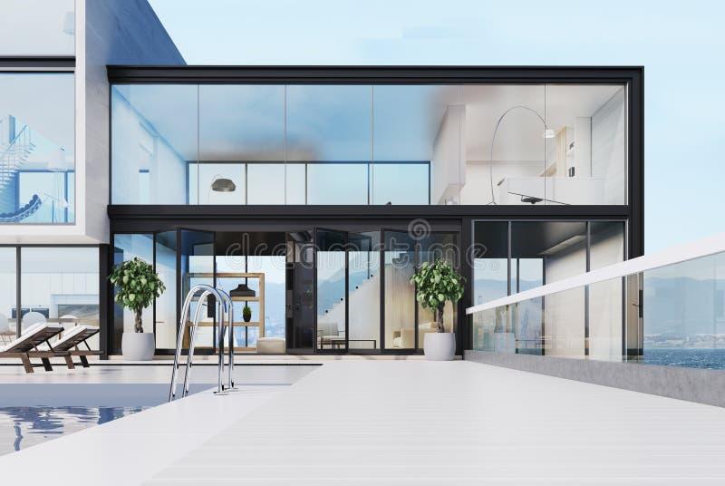 Роскошный особняк с бассейном на крыше, белой бесплатная иллюстрация