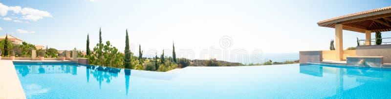 Роскошный плавательный бассеин. Панорамное изображение стоковые фотографии rf