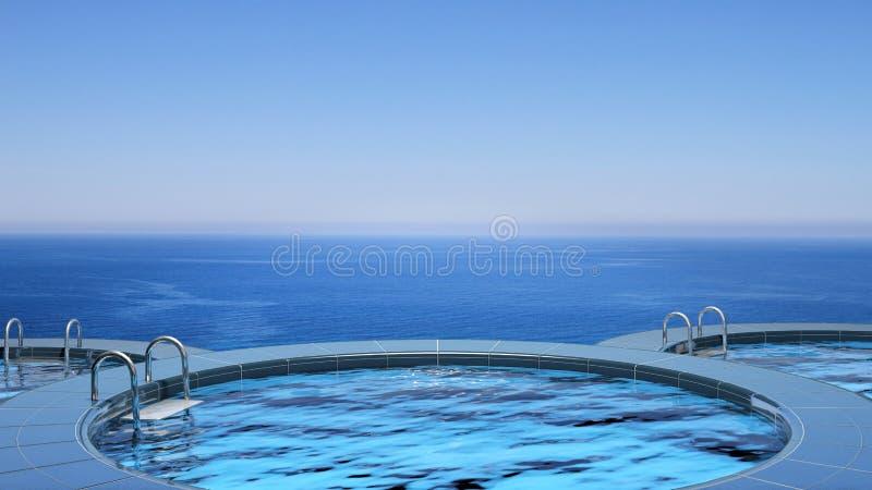 Роскошный плавательный бассеин иллюстрация вектора