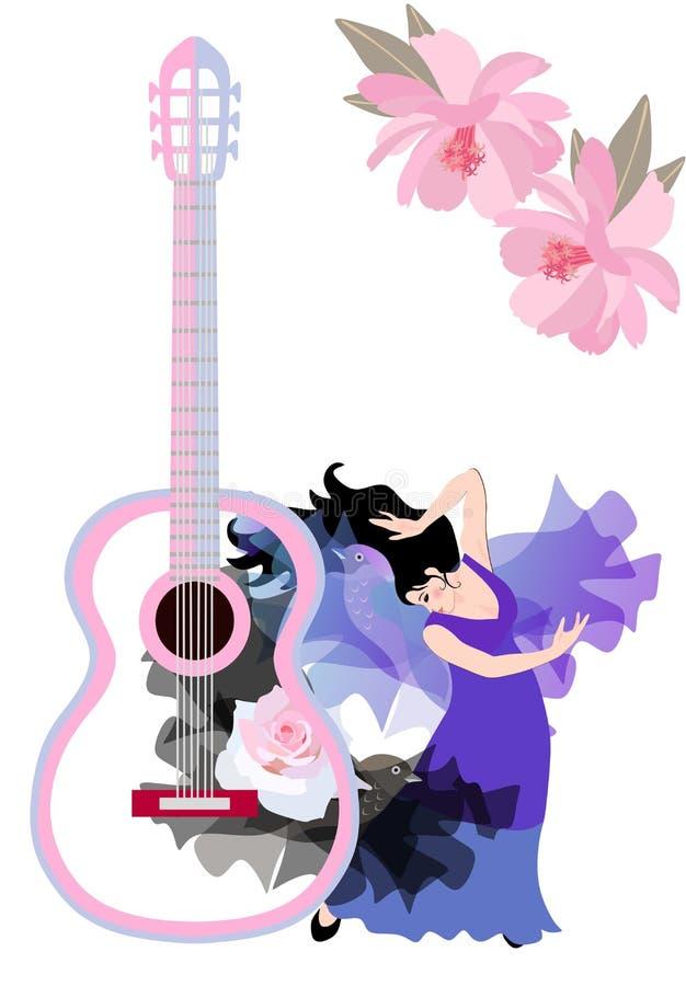 Роскошный состав с большим силуэтом гитары, розовыми цветками, шалями в форме летящих птиц и испанскими танцами девушки иллюстрация вектора