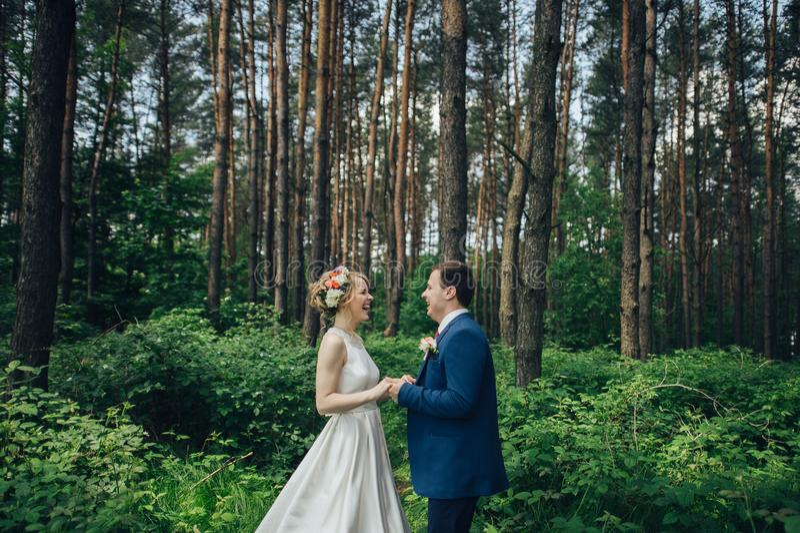 Роскошный стильный молодой жених и невеста на весне su предпосылки стоковые фотографии rf