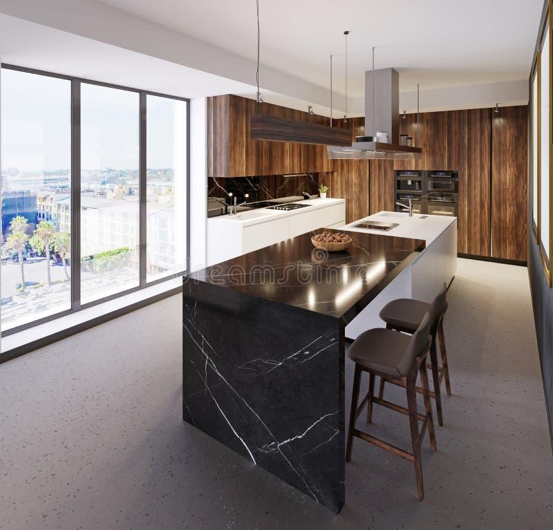 Роскошный счетчик бара в современной кухне и большом панорамном окне Кухня различных материалов, мрамор, древесина, пластмасса иллюстрация штока
