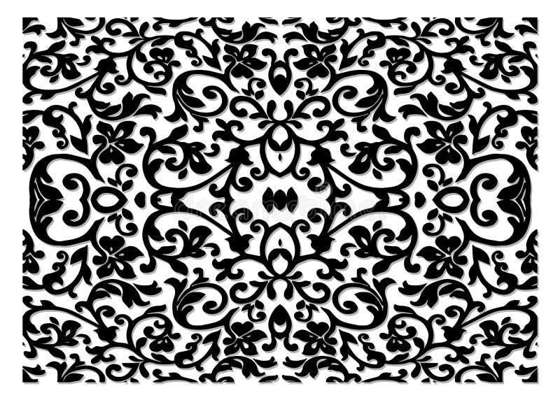 Роскошный цветочный узор оформления, чугунные модули, годные к употреблению как загородки, перила, грили окна изолированные на бе иллюстрация вектора