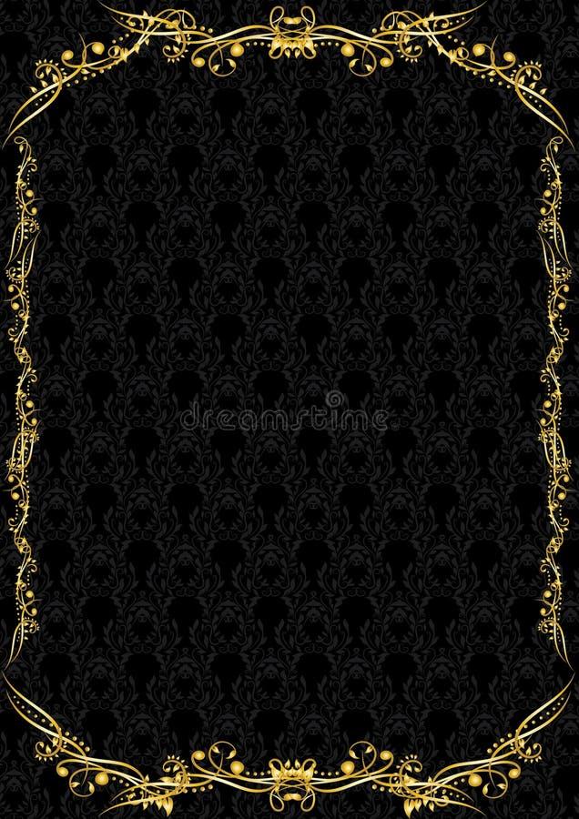 Роскошный черный и золотой пробел иллюстрация вектора