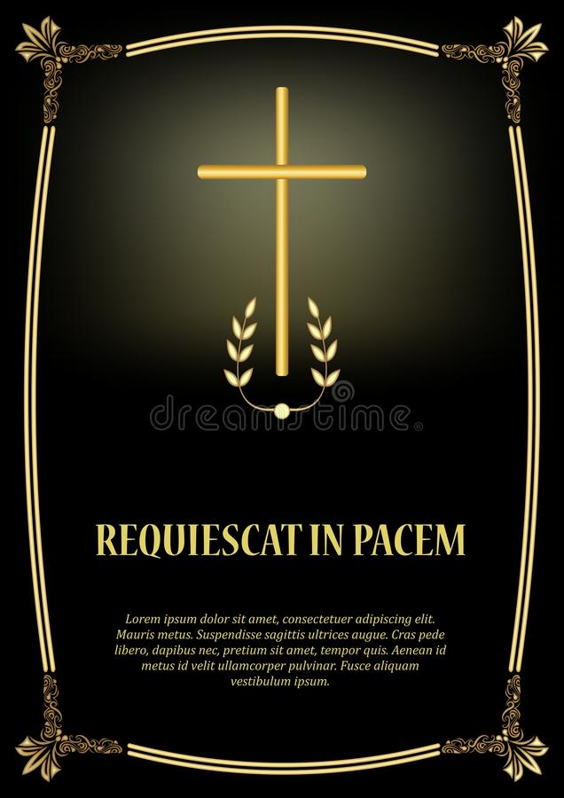 Роскошный шаблон некролога с золотым крестом, золотой винтажной рамкой и светом Элегантное роскошное похоронное объявление бесплатная иллюстрация