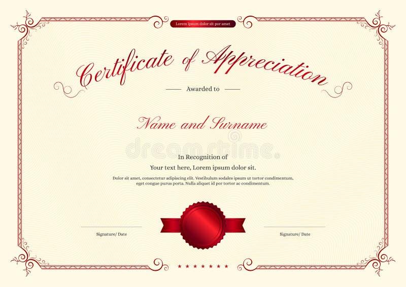 Роскошный шаблон сертификата с элегантной рамкой границы, дизайном диплома иллюстрация вектора