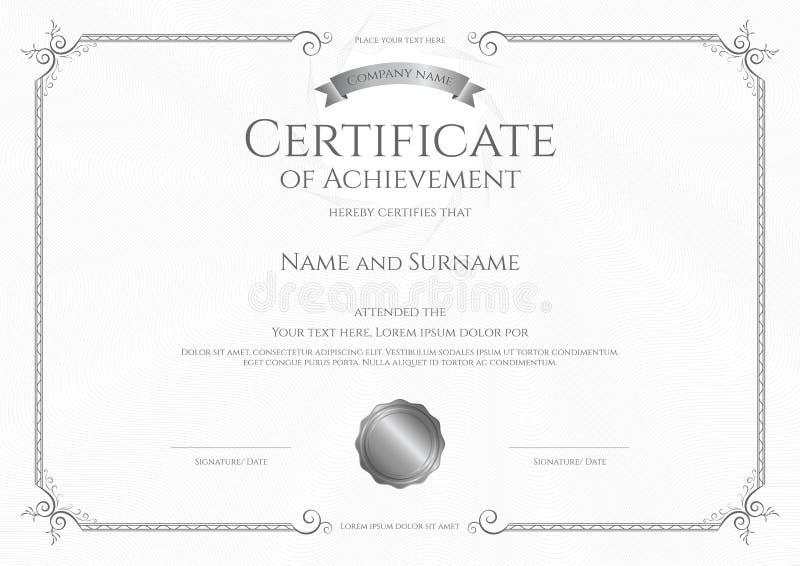 Роскошный шаблон сертификата с элегантной рамкой границы, дизайном диплома бесплатная иллюстрация