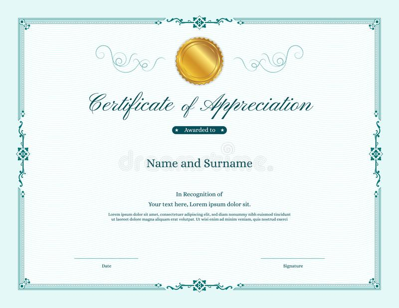 Роскошный шаблон сертификата с элегантной рамкой границы иллюстрация штока
