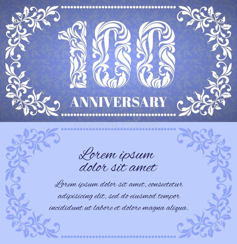Роскошный шаблон с флористической рамкой и декоративная картина на 100 лет годовщины иллюстрация вектора