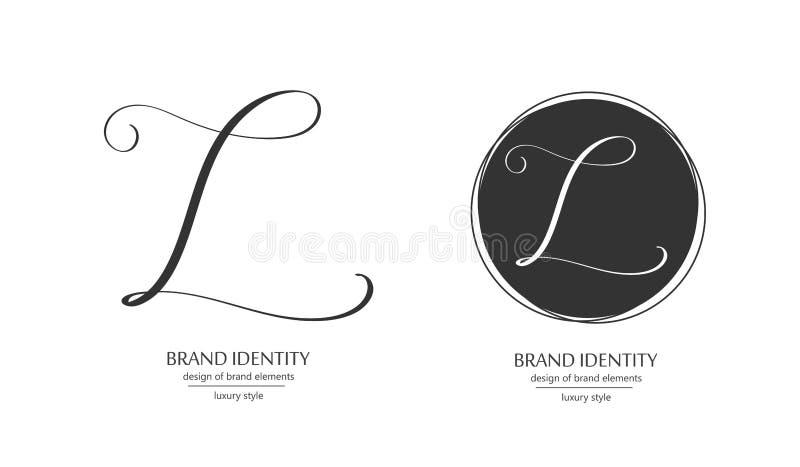 Роскошный шаблон логотипа вектора Изощренный дизайн бренда Каллиграфическое письмо l как вензель иллюстрация штока