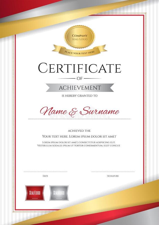 Роскошный шаблон сертификата с элегантной золотой рамкой границы, Di иллюстрация вектора