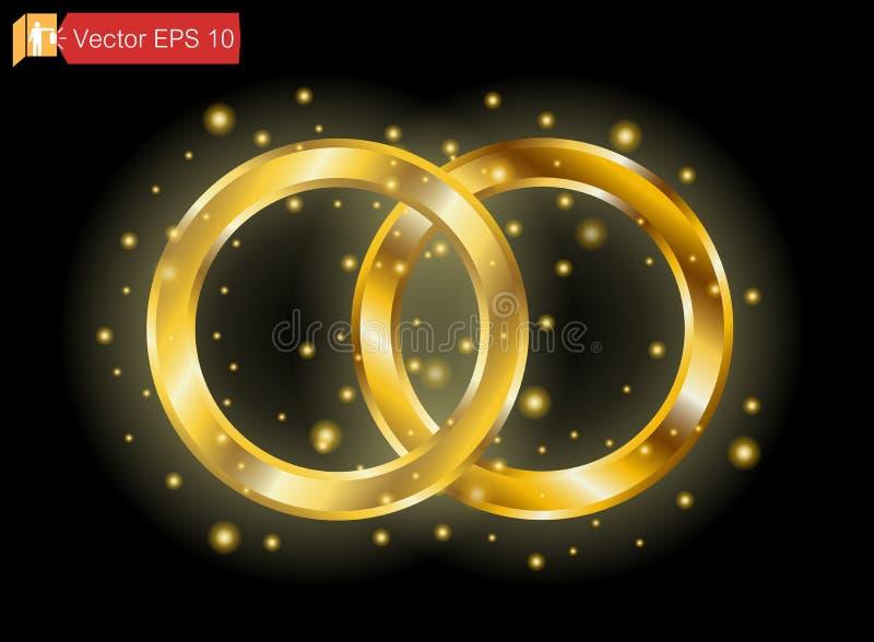 Роскошь кольца золота на темной предпосылке изолировано betrothed Помолвка Круг вектора золотой, частицы искры Световой эффект бесплатная иллюстрация
