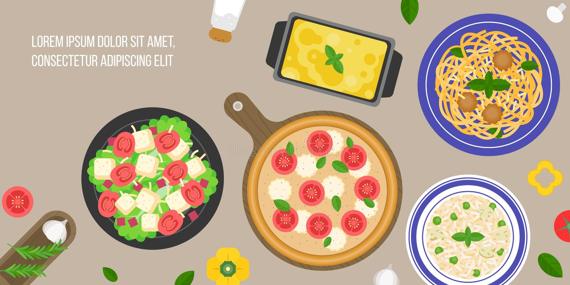 роскошь уклада жизни превосходной еды кухни carpaccio итальянская иллюстрация штока