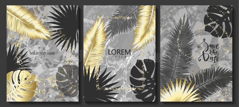 Роскошь чешет собрание с мраморной текстурой, тропическими листьями и сияющей рамкой Предпосылка вектора ультрамодная Современный иллюстрация вектора
