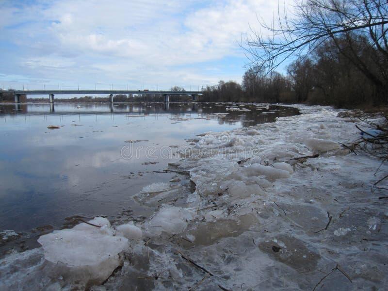 Россия, весна на реке Msta стоковое фото