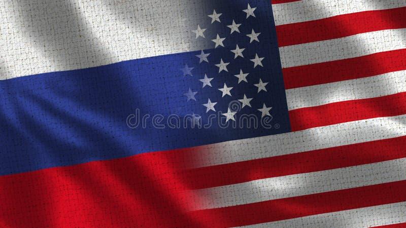 Россия и США - 2 сигнализируйте совместно - текстура ткани стоковое изображение